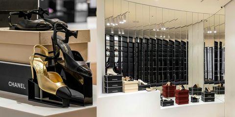 Product, High heels, Shoe store, Sandal, Basic pump, Interior design, Retail, Shelf, Collection, Shelving,