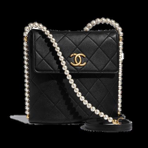 黑色皮革菱格紋珍珠鍊帶肩背包