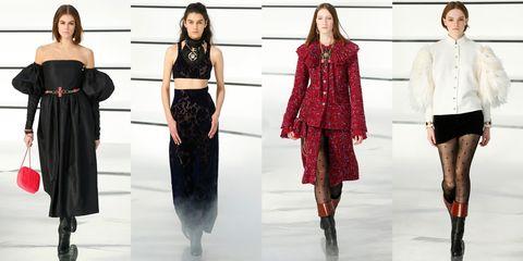Fashion model, Clothing, Fashion, Runway, Shoulder, Fashion show, Dress, Outerwear, Fashion design, Footwear,