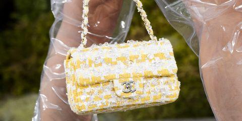 yellow tweed chanel bag ss18