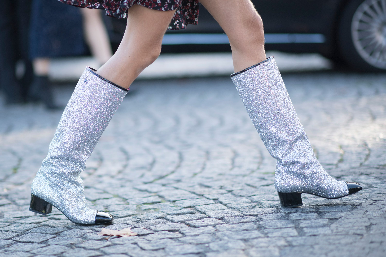 chanel glitter boots. chanel glitter boots