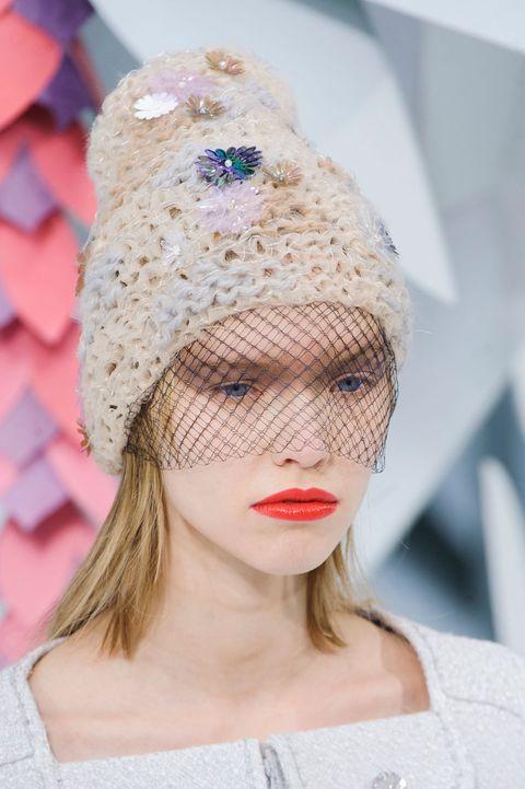 Clothing, Beanie, Cap, Fashion accessory, Headgear, Lip, Hair accessory, Knit cap, Veil, Bridal accessory,