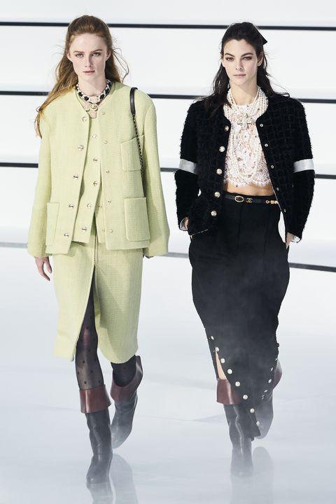 Fashion, Fashion show, Fashion model, Runway, Clothing, Knee, Outerwear, Fashion design, Human, Winter,