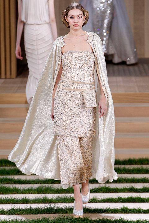 Fashion, Clothing, Fashion model, Haute couture, Dress, Runway, Fashion show, Wedding dress, Gown, Bridal party dress,