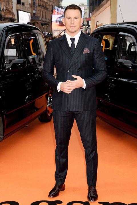 Suit, Vehicle, Car, Luxury vehicle, Formal wear, Tuxedo, Premiere, White-collar worker, Bodyguard,