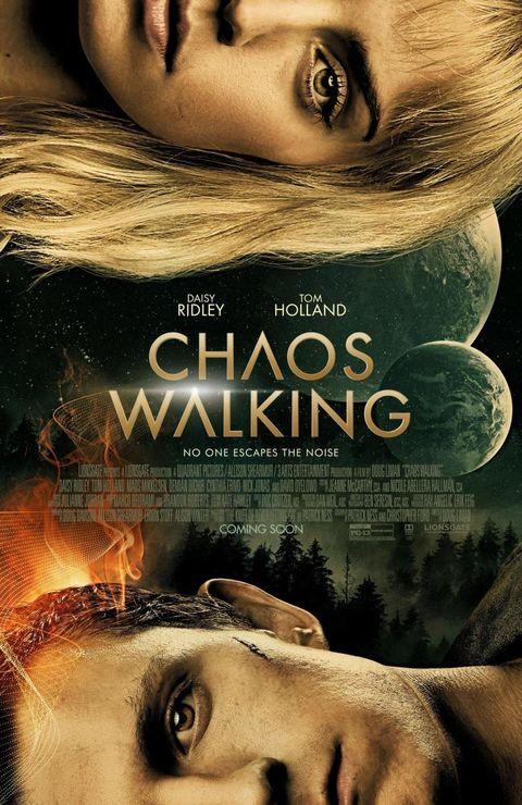 cartel promocional de la película chaos walking con tom holland y daisy ridley
