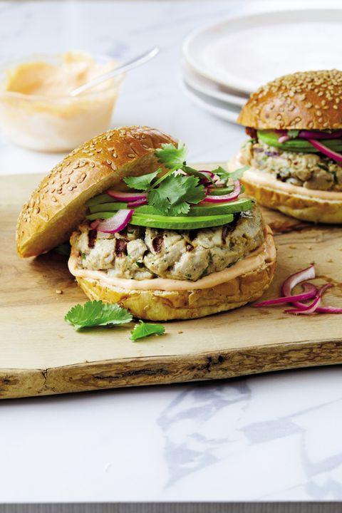 Dish, Food, Cuisine, Ingredient, Finger food, Produce, Salmon burger, Sandwich, Staple food, Baked goods,