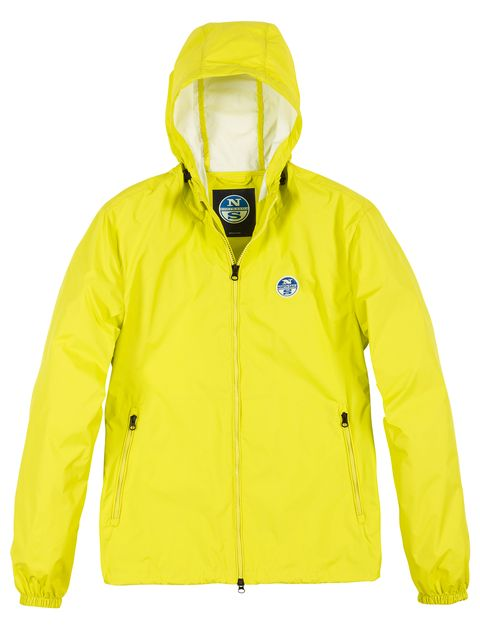 Jacket, Outerwear, Clothing, Yellow, Hood, Raincoat, Sleeve, Windbreaker, Rain suit, Coat,