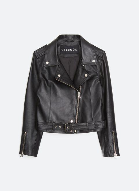 cazadora de cuero, biker piel negra, biker uterque, chaqueta de piel