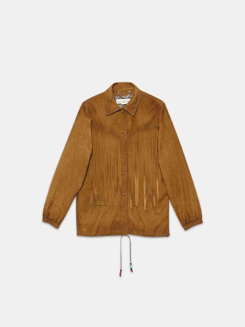 chaqueta de flecos marron