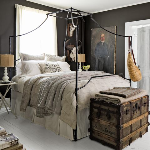 bedroom with dark charcoal black walls