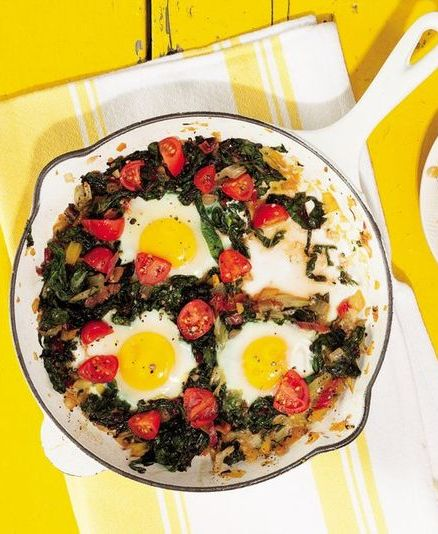 whole30 breakfast recipes: chard breakfast skillet with egg, onion, and tomato