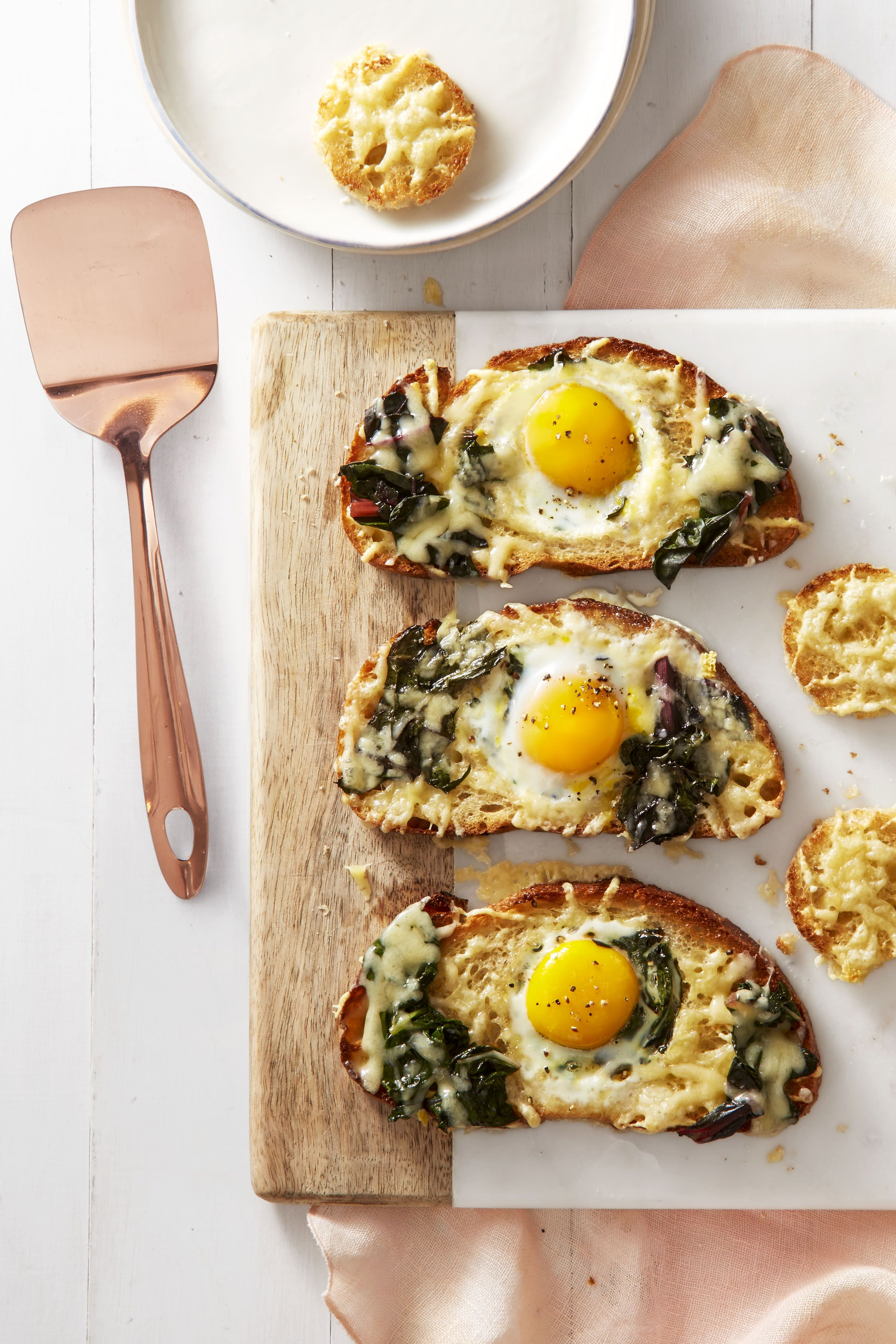 Chard and Gruyère Eggs in the Hole - Hard Boiled Eggs