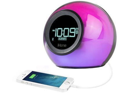 Product, Digital clock, Clock, Violet, Pedometer, Radio clock, Technology, Alarm clock, Finger, Electronic device,