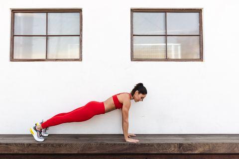 Leg, Shoulder, Red, Arm, Physical fitness, Thigh, Joint, Human leg, Knee, Abdomen,