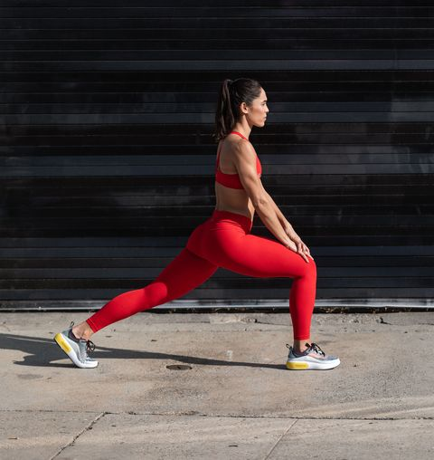 Red, Running, Lunge, Leg, Physical fitness, Sports, Recreation, Exercise, Stretching, Photography,