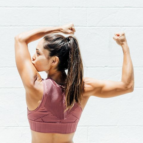 Shoulder, Skin, Arm, Joint, Beauty, Physical fitness, Leg, Pink, Muscle, Standing,