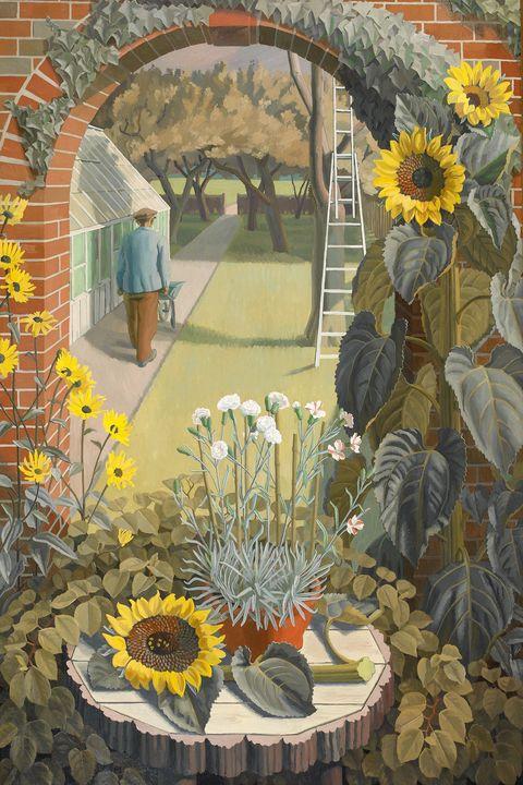 Sunflower, Flower, Plant, sunflower, Mosaic, Painting, Mural, Still life, Floristry, Floral design,