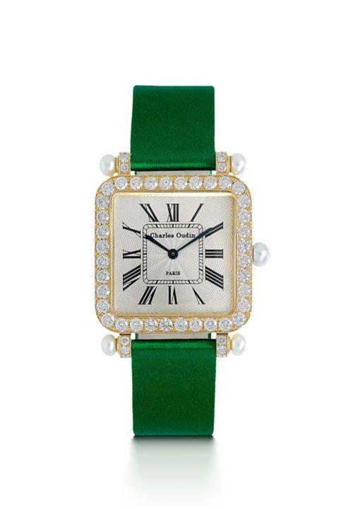charles oudin green watch, yellow gold, diamonds, pearl