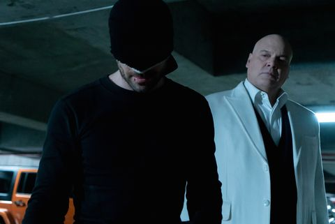 Charlie Cox (Daredevil) and Vincent D'Onofrio (Wilson Fisk)