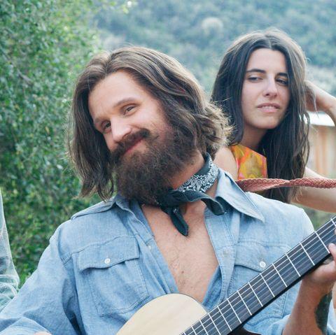 Guitar, People, String instrument, Musician, Plucked string instruments, Beard, Facial hair, Musical instrument, Summer, Long hair,