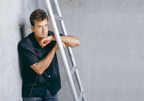 Shoulder, Elbow, Denim, Flash photography, Ladder,