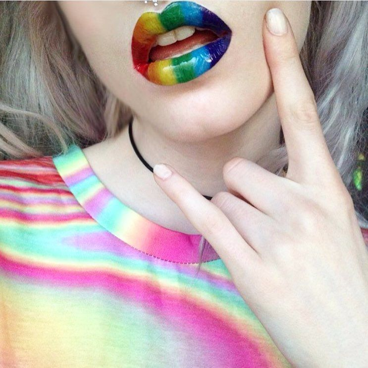Rainbow Lip Tattoo
