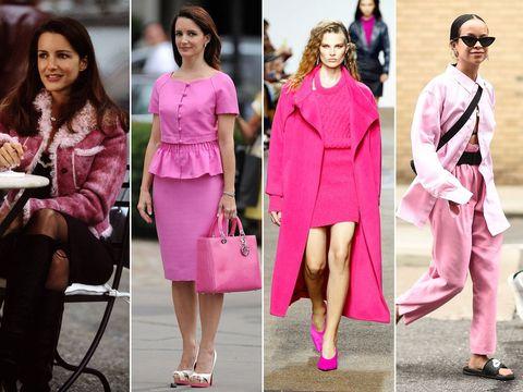 Pink, Clothing, Street fashion, Fashion, Fashion model, Footwear, Dress, Magenta, Lip, Shoe,