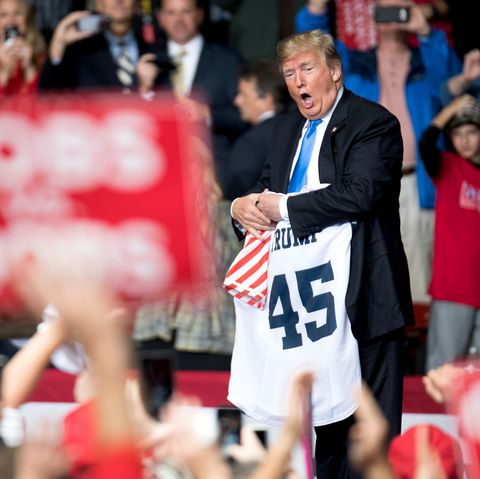President Trump Holds Campaign Rally At The Bojangles Coliseum In Charlotte, North Carolina