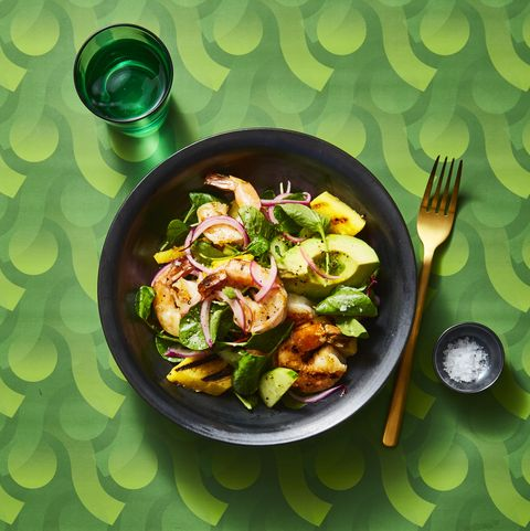 charred shrimp and avocado salad