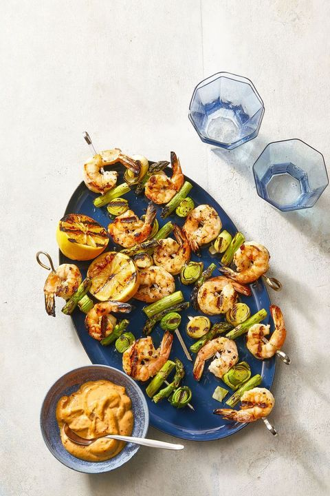 charred shrimp, leek and asparagus skewers