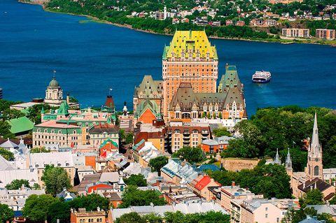 Chateau Frontenac And Saint Laurent River. Quebec City. Quebec. Canada