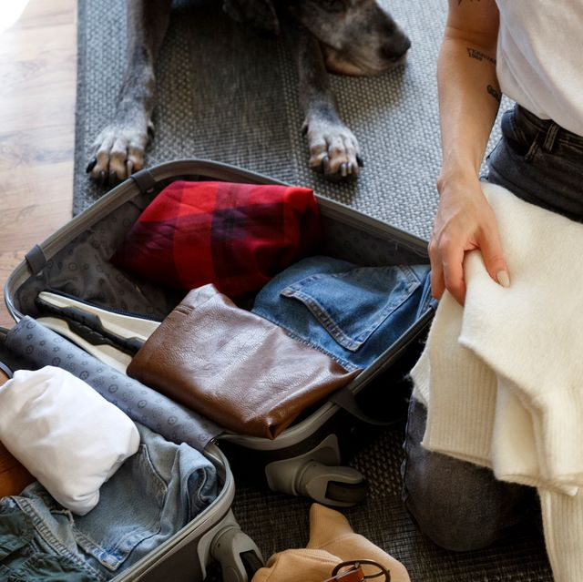 woman packing suitcase on floor with dog