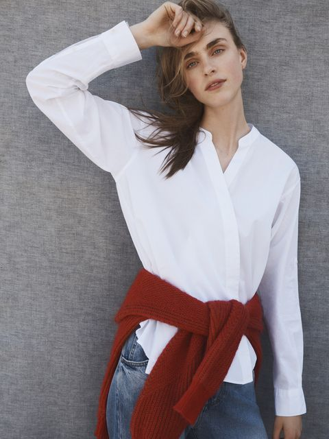 Clothing, White, Fashion model, Neck, Fashion, Sleeve, Photo shoot, Outerwear, Shoulder, Model,