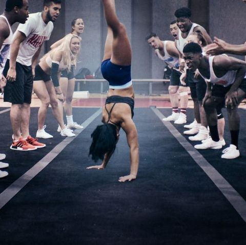 Sports, Physical fitness, Tumbling (gymnastics), Crowd, Competition, Performance,