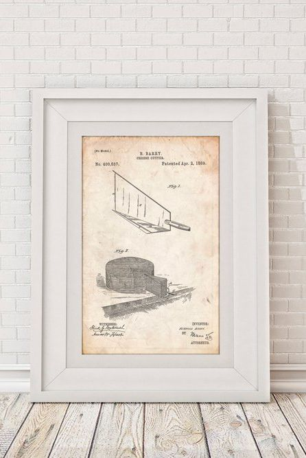 gifts for cheese lovers blueprint of a cheese cutter print