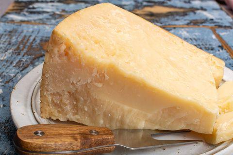 cheese collection, hard italian cheese, aged parmesan or grana padano cheese