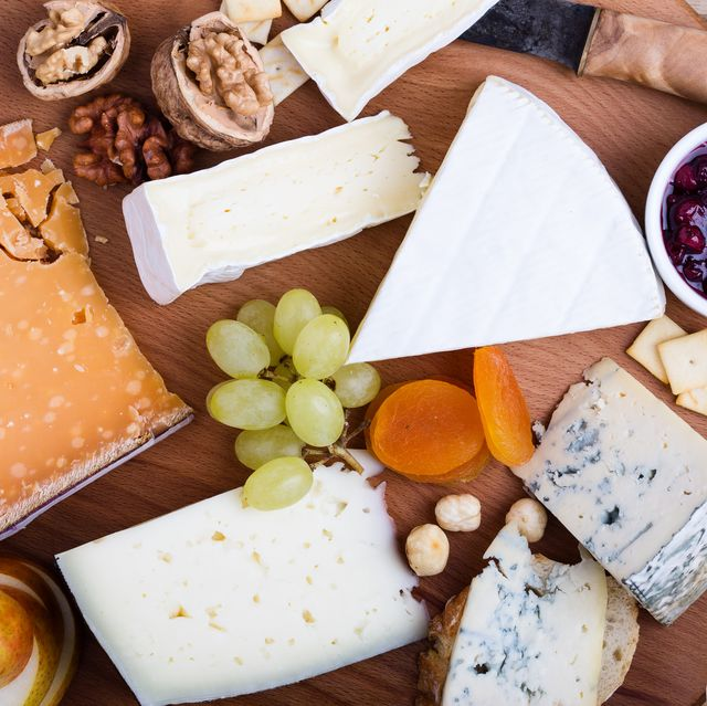 cheese platter with fruits and wine