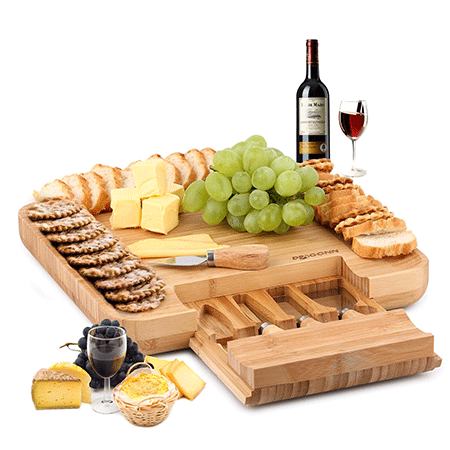 Graduation Gifts for Him and Her - heese Board & Cutlery Knife Set with Slide-Out Drawer