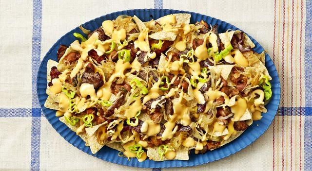 cheesesteak nachos with chipotle beans