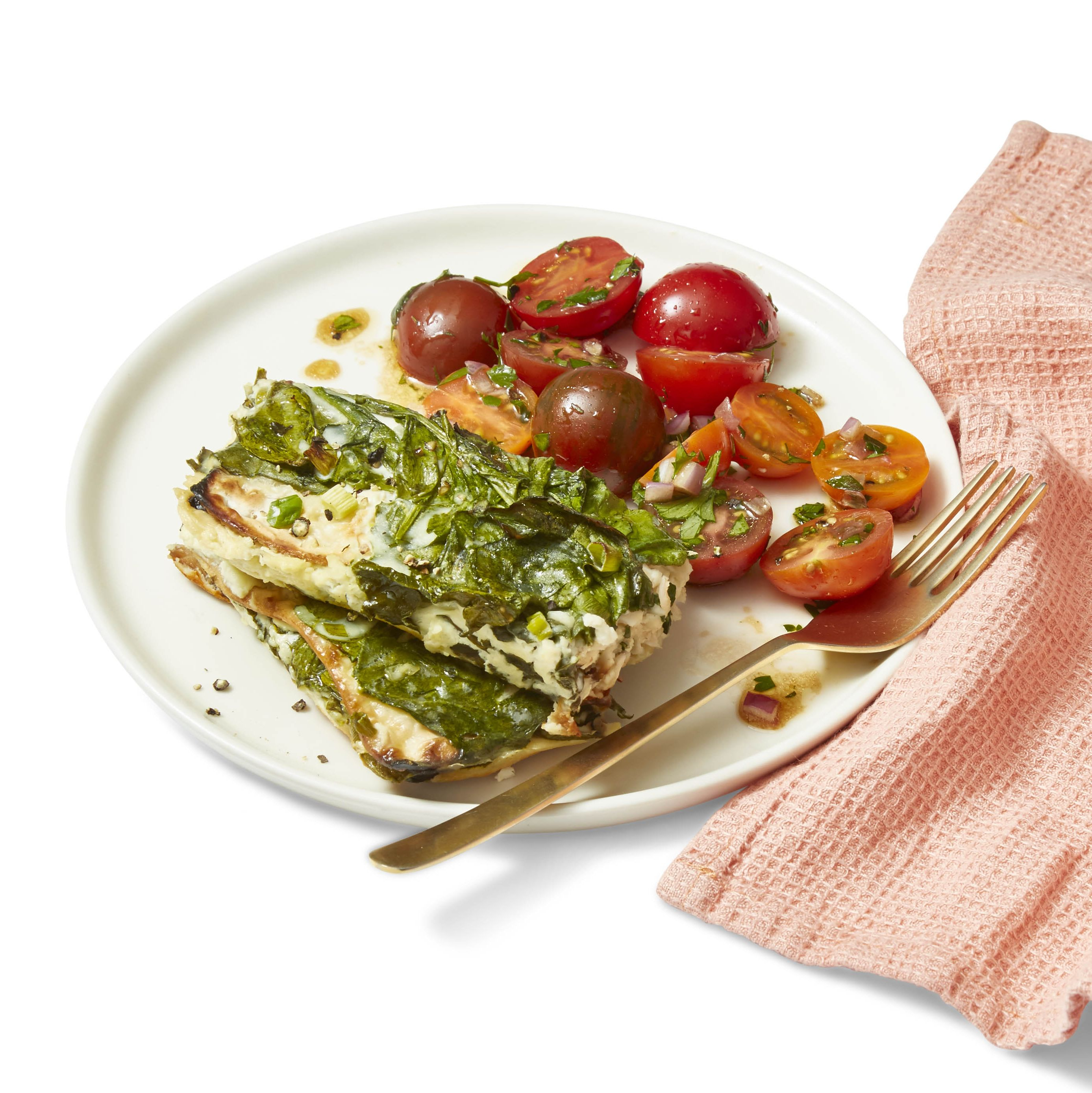 light dinner ideas -Cheesy Baked Spinach and Feta Casserole