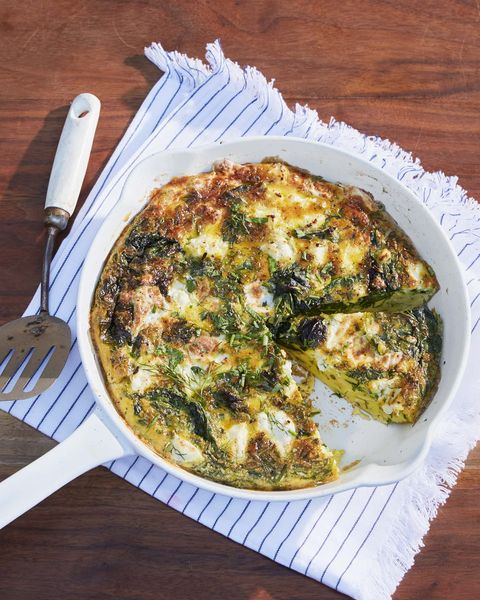 cheesy fritatta with spring greens and shallots