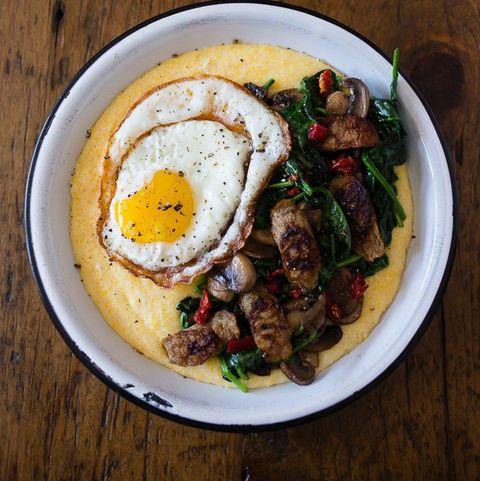 cheesy polenta sausage bowl