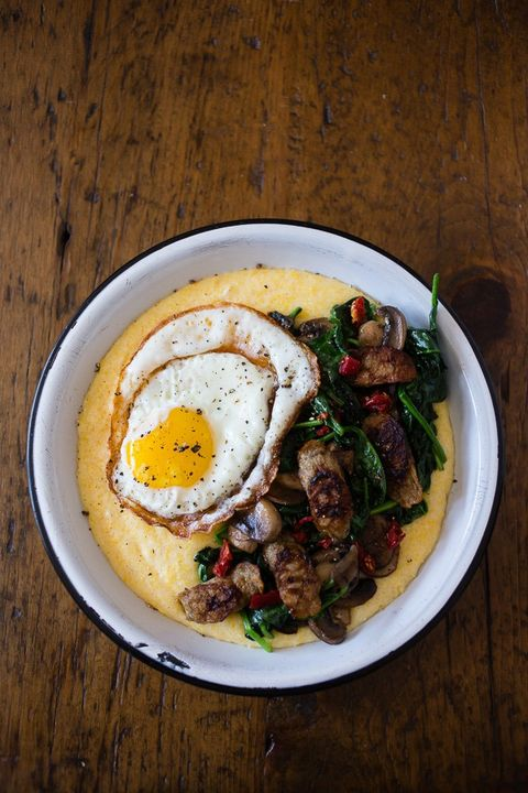 cheesy polenta sausage bowl