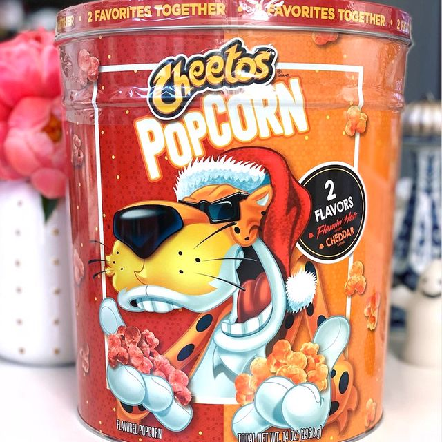 cheetos holiday popcorn tin