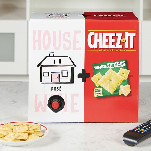cheez it white cheddar crackers and house wine rosé box