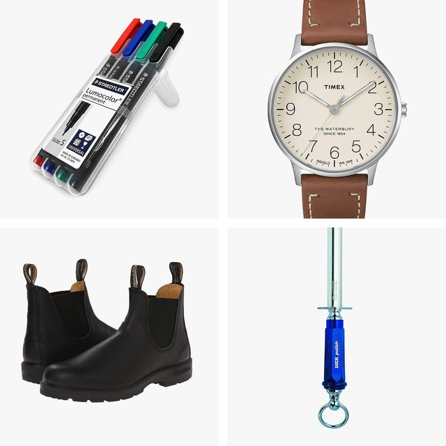 lumocolor markers, timex watch, blundstone shoes, dick honing rod
