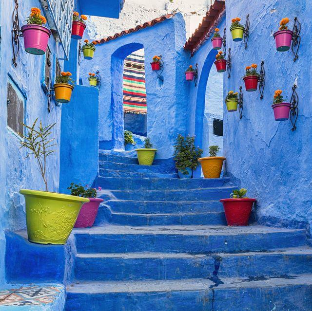 blue coloured medina in chefchaouen, morocco