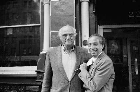 portrait of american playwright arthur miller 1915   2005 left and chelsea hotel owner and manager stanley bard 1934   2017 as they pose together outside the hotel's entrance, new york, new york, october 1994 photo by rita barrosgetty images