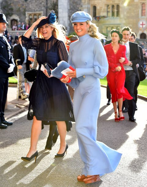 Chelsy Davy arriving at Princess Eugenie's wedding